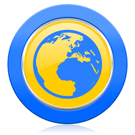 parallels: earth blue yellow icon world sign