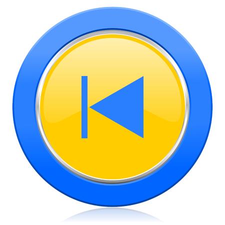 previous: previous blue yellow icon