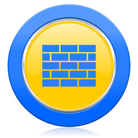 firewall blue yellow icon brick wall sign photo