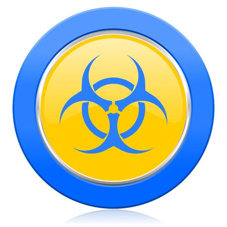 biohazard blue yellow icon virus sign photo