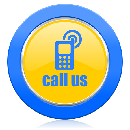 call us blue yellow icon phone sign photo