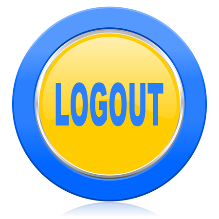 logout: logout blue yellow icon