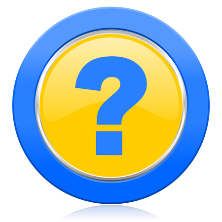 question mark blue yellow icon ask sign Stock Photo