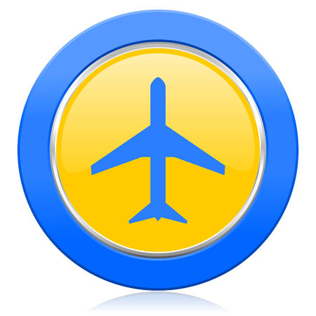 airport sign: plane blue yellow icon airport sign Stock Photo