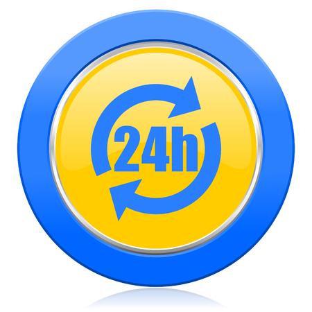 24h: 24h blue yellow icon Stock Photo