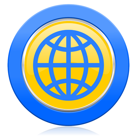 parallels: earth blue yellow icon