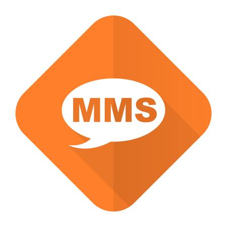 mms: mms orange flat icon message sign