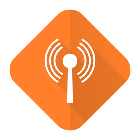 wifi orange flat icon wireless network sign Stock Photo