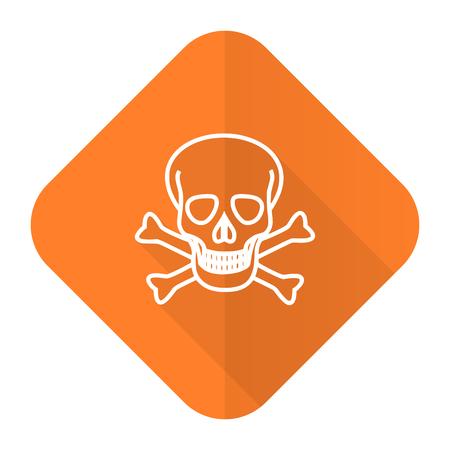 pirating: skull orange flat icon death sign Stock Photo