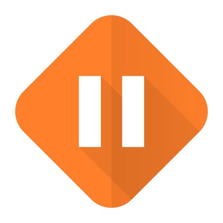 pause: pause orange flat icon Stock Photo