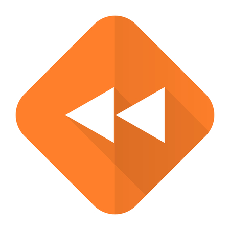 rewind: rewind orange flat icon Stock Photo