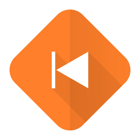 previous: previous orange flat icon