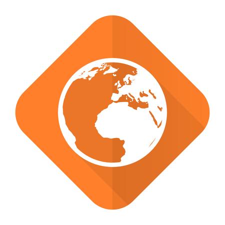 meridians: earth orange flat icon world sign Stock Photo