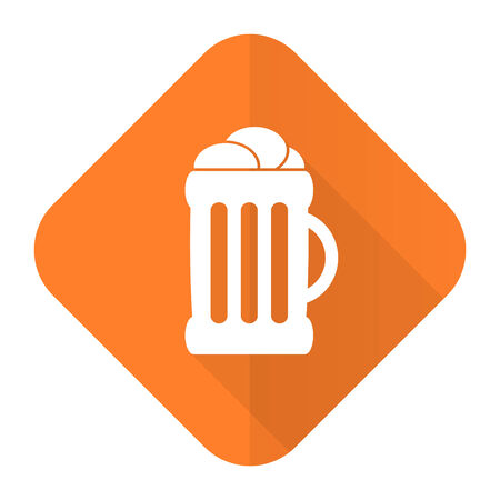 cereal bar: beer orange flat icon mug sign Stock Photo