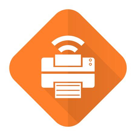 flash memory: printer orange flat icon flash memory sign Stock Photo