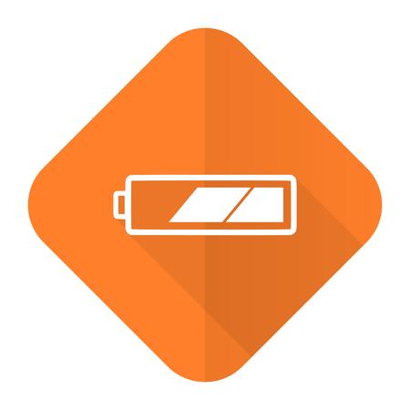 Battery Orange Flat Icon Charging Symbol Power Sign Stock Photo