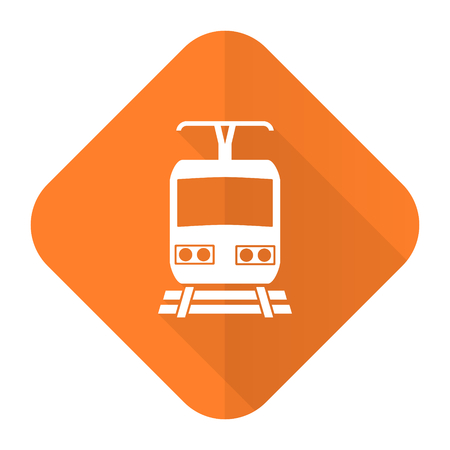 train orange flat icon public transport sign photo