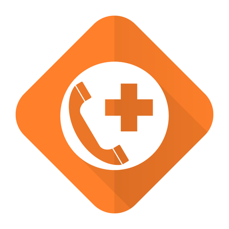 emergency call: emergency call orange flat icon Stock Photo