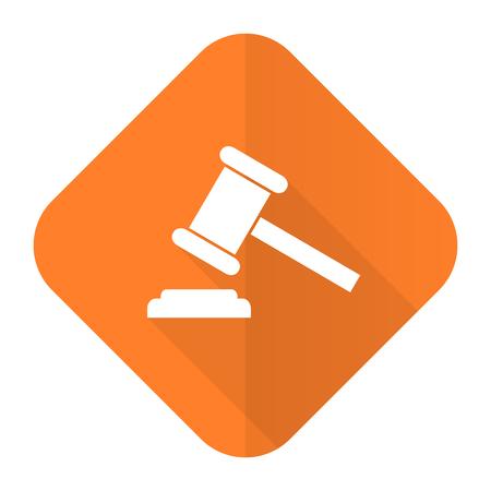 auction orange flat icon court sign verdict symbol photo