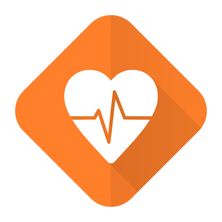 pulse orange flat icon heart rate sign photo
