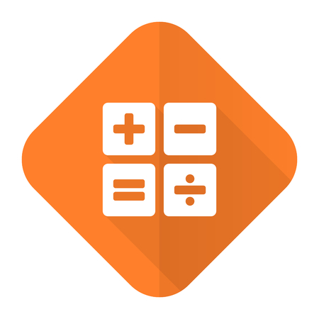 calc: calculator orange flat icon calc sign