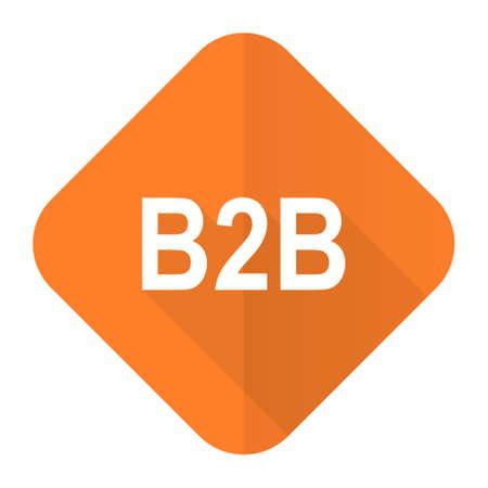 b2b: b2b icono plana naranja Foto de archivo