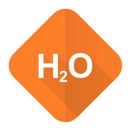 h2o: water orange flat icon h2o sign