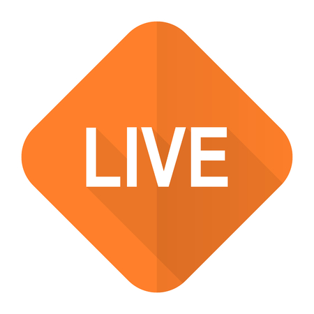 livestream: live orange flat icon