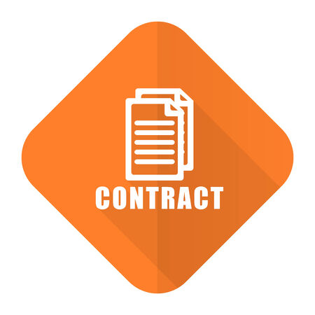 pact: contract orange flat icon Stock Photo