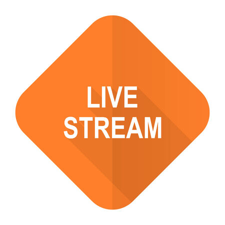 livestream: live stream orange flat icon