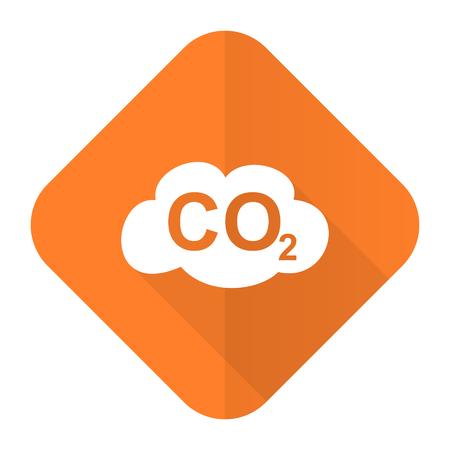co2: carbon dioxide orange flat icon co2 sign