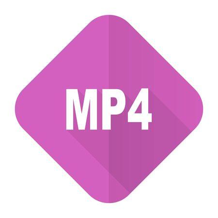 mp4: mp4 pink flat icon Stock Photo