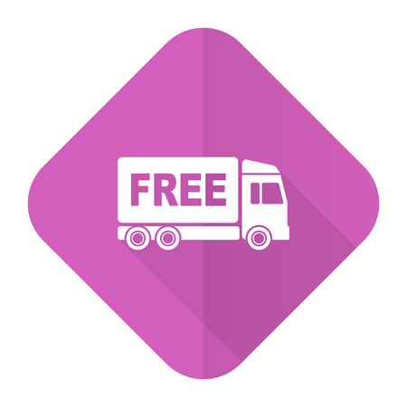deliverance: free delivery pink flat icon transport sign