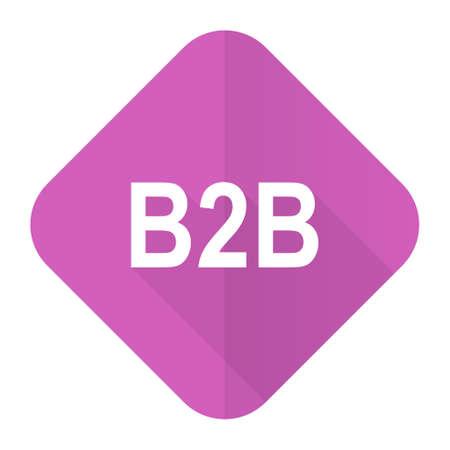 b2b: b2b icono plana de color rosa