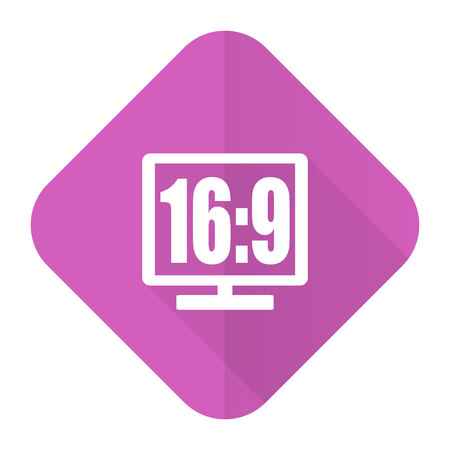 16 9 display pink flat icon photo