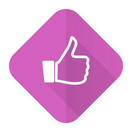 like pink flat icon thumb up sign photo