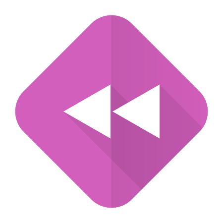 rewind: rewind pink flat icon Stock Photo