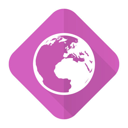 parallels: earth pink flat icon world sign