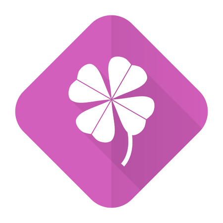 fourleaf: four-leaf clover pink flat icon Stock Photo