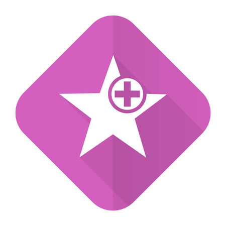 favourite: star pink flat icon add favourite sign
