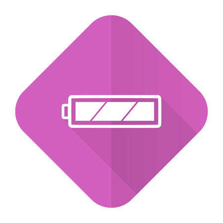 accuse: battery pink flat icon charging symbol power sign Stock Photo
