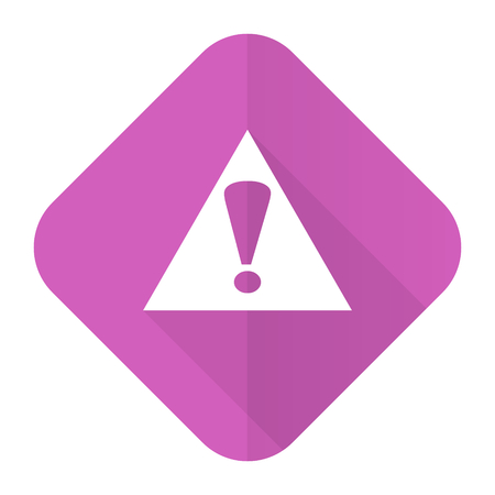 exclamation icon: exclamation sign pink flat icon warning sign alert symbol Stock Photo