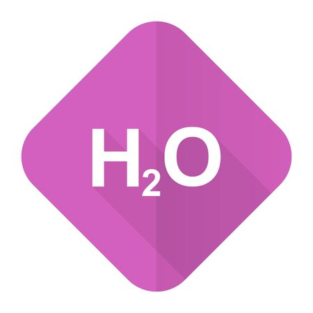 h2o: water pink flat icon h2o sign Stock Photo