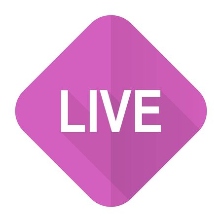 news cast: live pink flat icon
