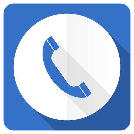 phone blue flat icon telephone sign photo
