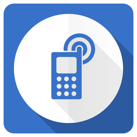 phone blue flat icon mobile phone sign photo