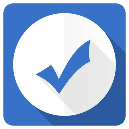 answer approve of: accept blue flat icon check sign