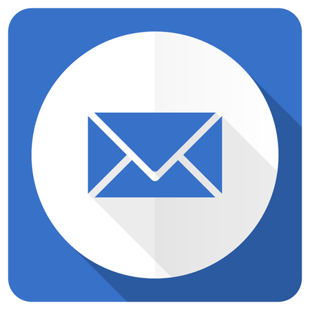 email blue flat icon post sign photo