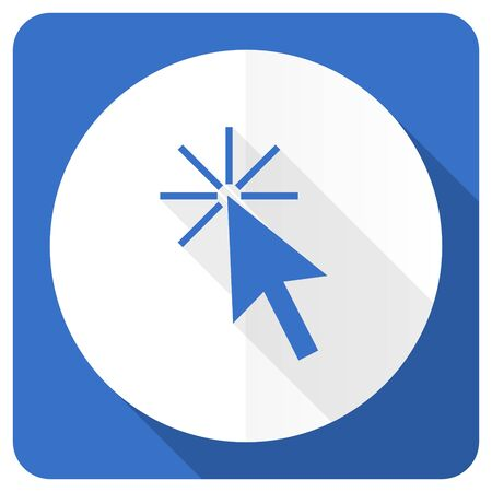 here: click here blue flat icon