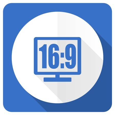 16 9: 16 9 display blue flat icon